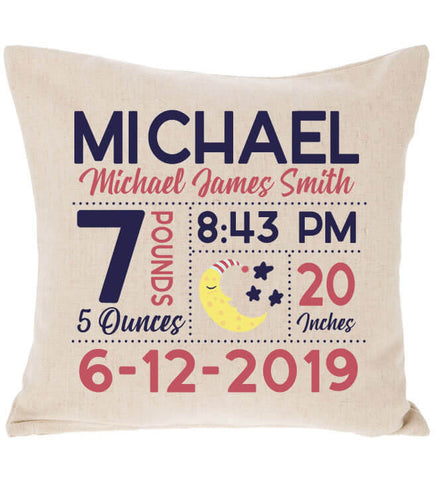 Image of Birth Announcement Pillow - Moon & Stars