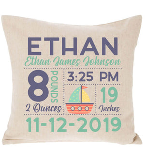 Birth Announcement Pillow - Sailboat
