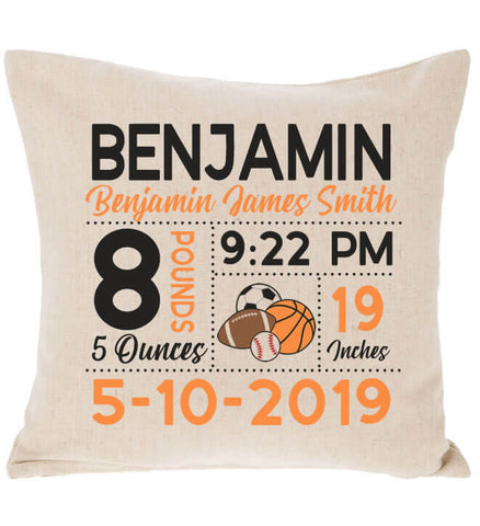 Image of Birth Announcement Pillow - Sports