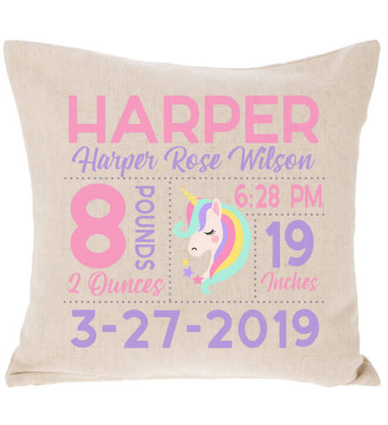 Birth Announcement Pillow - Unicorn