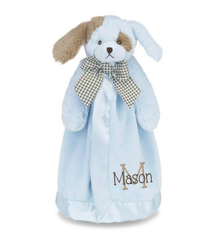Image of Blue Dog Snuggle Blanket with Name & Initial - Personalized Babies