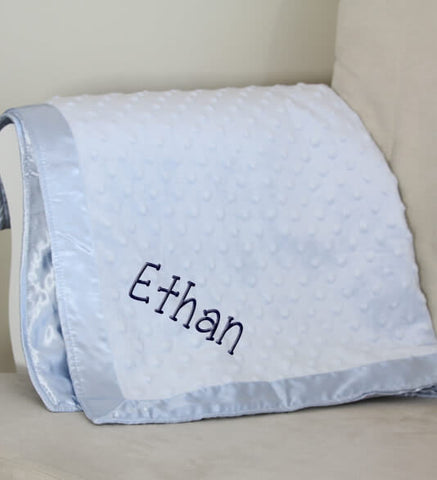 Image of Blue Dot Baby Blanket with Name - Personalized Babies