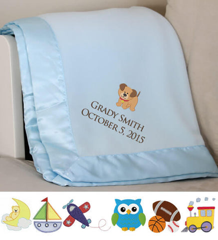 Image of Blue Plush Baby Blanket with Name & Birthday