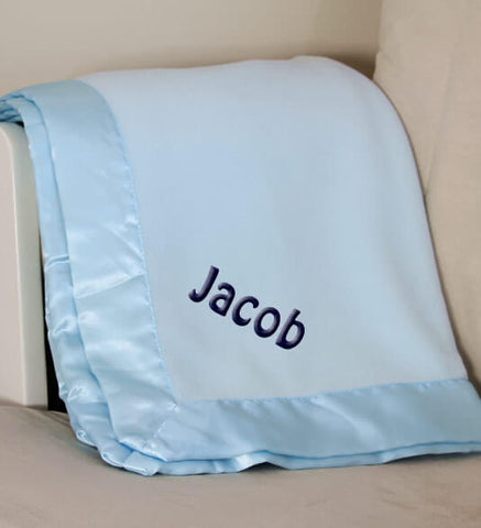 Blue Plush Baby Boy Blanket with Name
