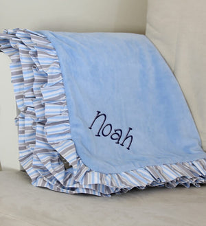 Blue/Gray Stripe Baby Blanket with Name - Personalized Babies