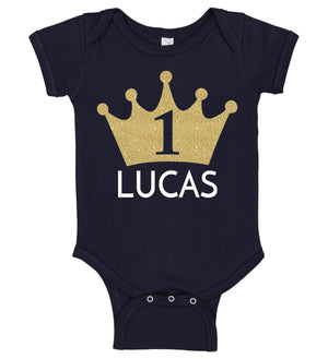 1st Birthday Boy Onesie with Crown - Personalized Babies