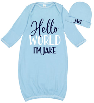 "Baby Boy ""Hello World"" Layette & Hat Set"