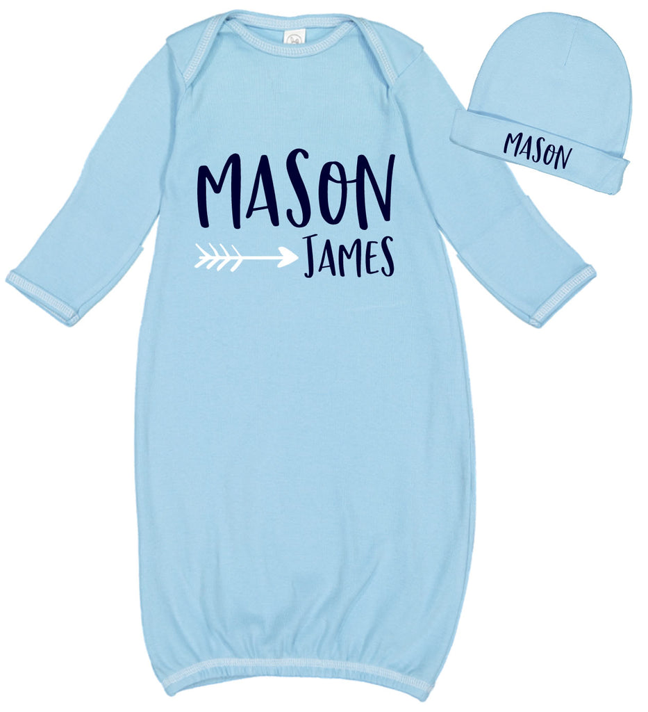 Baby Boy Layette & Hat Set with Name & Arrow