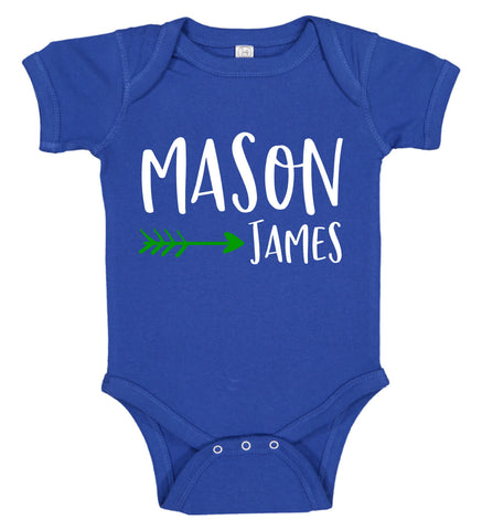 Baby Boy Onesie with Name & Arrow - Personalized Babies