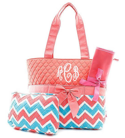 Monogrammed Diaper Bag - Coral/Turquoise Chevron