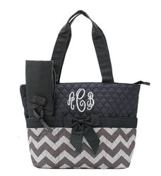 Monogrammed Diaper Bag - Gray Chevron