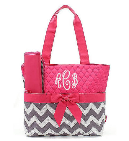 Monogrammed Diaper Bag - Hot Pink Chevron
