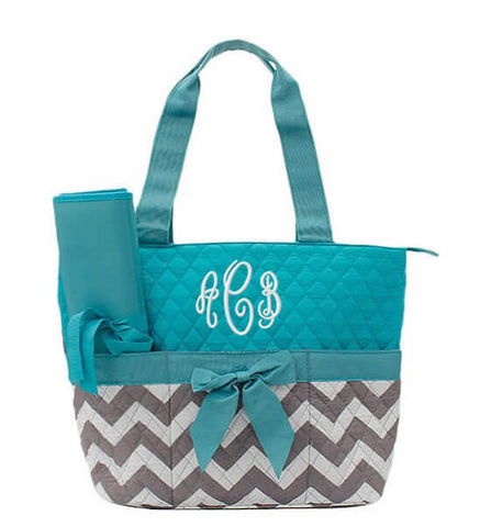 Image of Monogrammed Diaper Bag - Turquoise Chevron