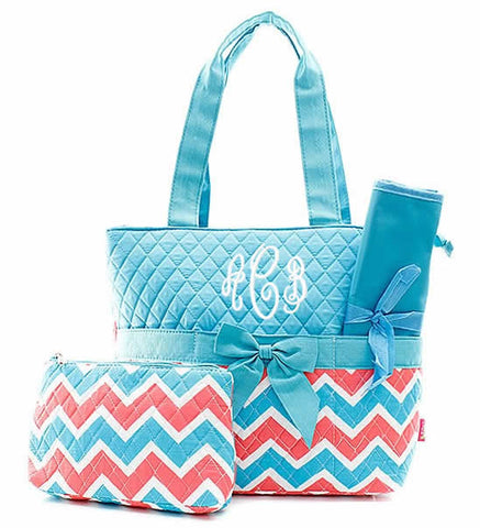 Image of Monogrammed Diaper Bag - Turquoise/Coral Chevron