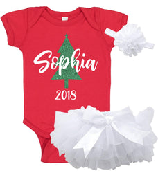 Christmas Onesie Set with Ruffle Bloomer & Headband