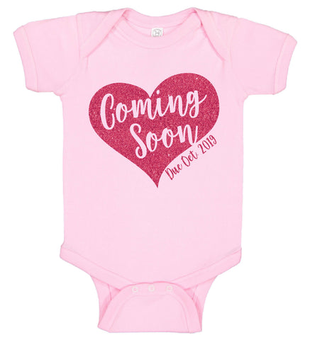 Coming Soon Heart Onesie with Date - Personalized Babies