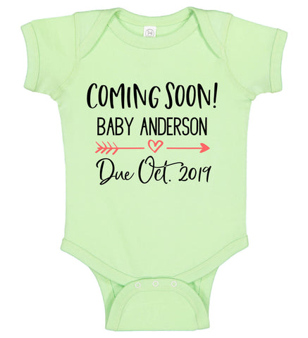 """Coming Soon"" Onesie with Name & Due Date - Personalized Babies"