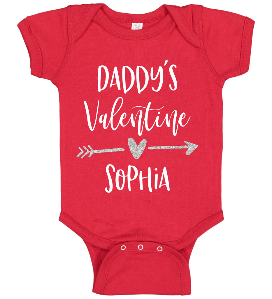 """Daddy's Valentine"" Baby Bodysuit with Name"