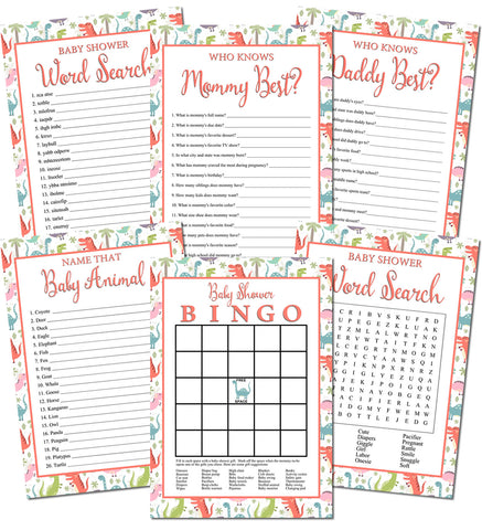 Image of Printable Dinosaur Baby Shower Games Set (6)