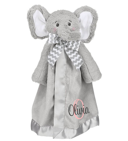 Image of Elephant Snuggle Blanket with Name & Initial - Personalized Babies