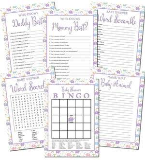 Printable Elephant Baby Shower Games Set (6)
