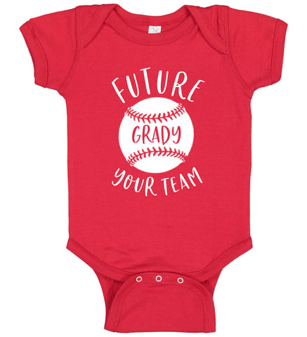 Image of Future Baseball Player Onesie with Name - Personalized Babies