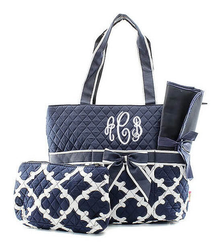Image of Monogrammed Diaper Bag - Navy Quatrefoil