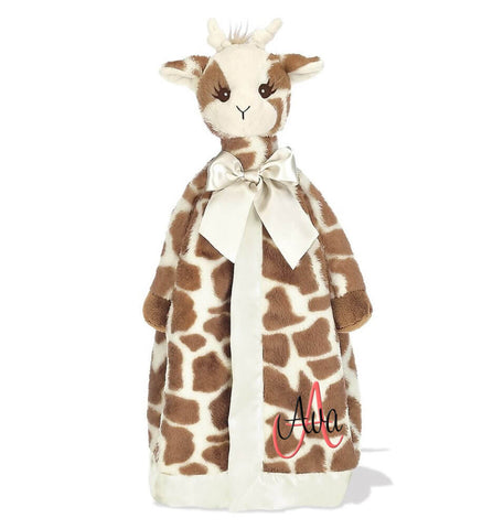 Image of Giraffe Snuggle Blanket with Name & Initial - Personalized Babies