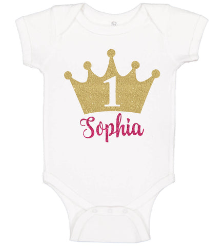 Image of 1st Birthday Girl Onesie with Crown - Personalized Babies