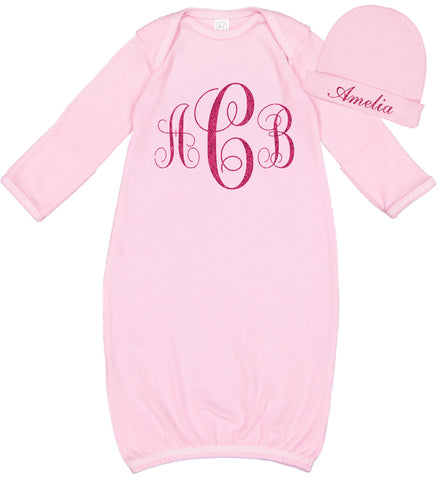 Monogrammed Baby Girl Layette & Hat Set