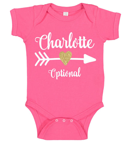 Baby Girl Onesie with Name & Heart Arrow - Personalized Babies
