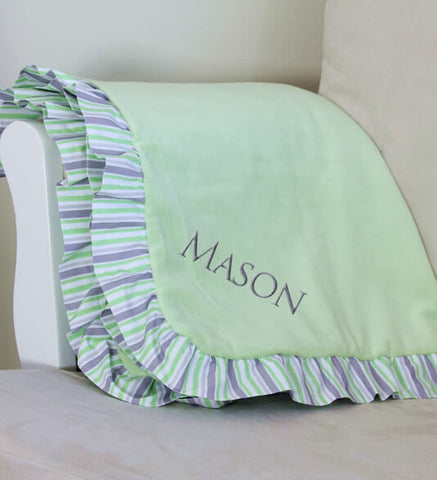 Green/Gray Stripe Baby Blanket with Name - Personalized Babies