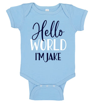 """Hello World"" Birth Announcement Onesie - Boy - Personalized Babies"