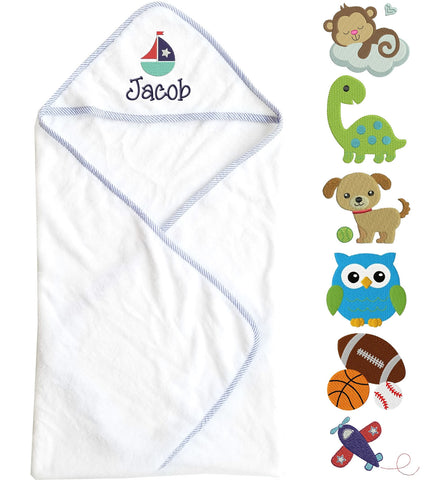 Image of Hooded Baby Boy Towel with Name & Design