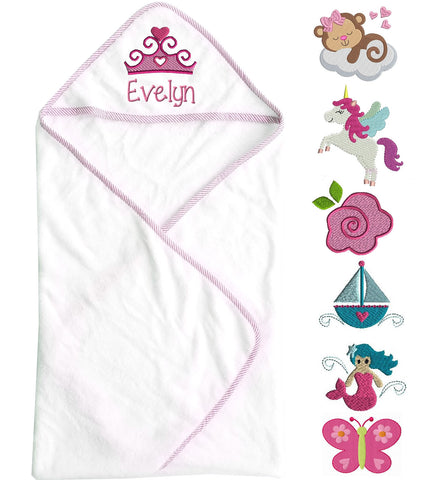 Hooded Baby Girl Towel with Name & Design
