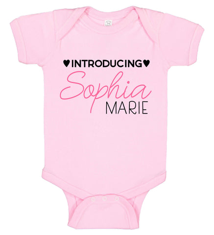 "Image of ""Introducing"" Birth Announcement Onesie - Girl - Personalized Babies"