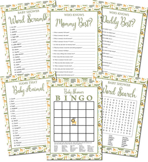 Printable Jungle Baby Shower Games Set (6)