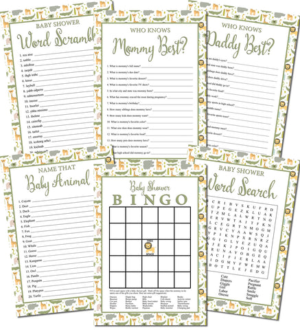Image of Printable Jungle Baby Shower Games Set (6)