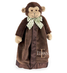 Monkey Snuggle Blanket with Name & Initial - Personalized Babies