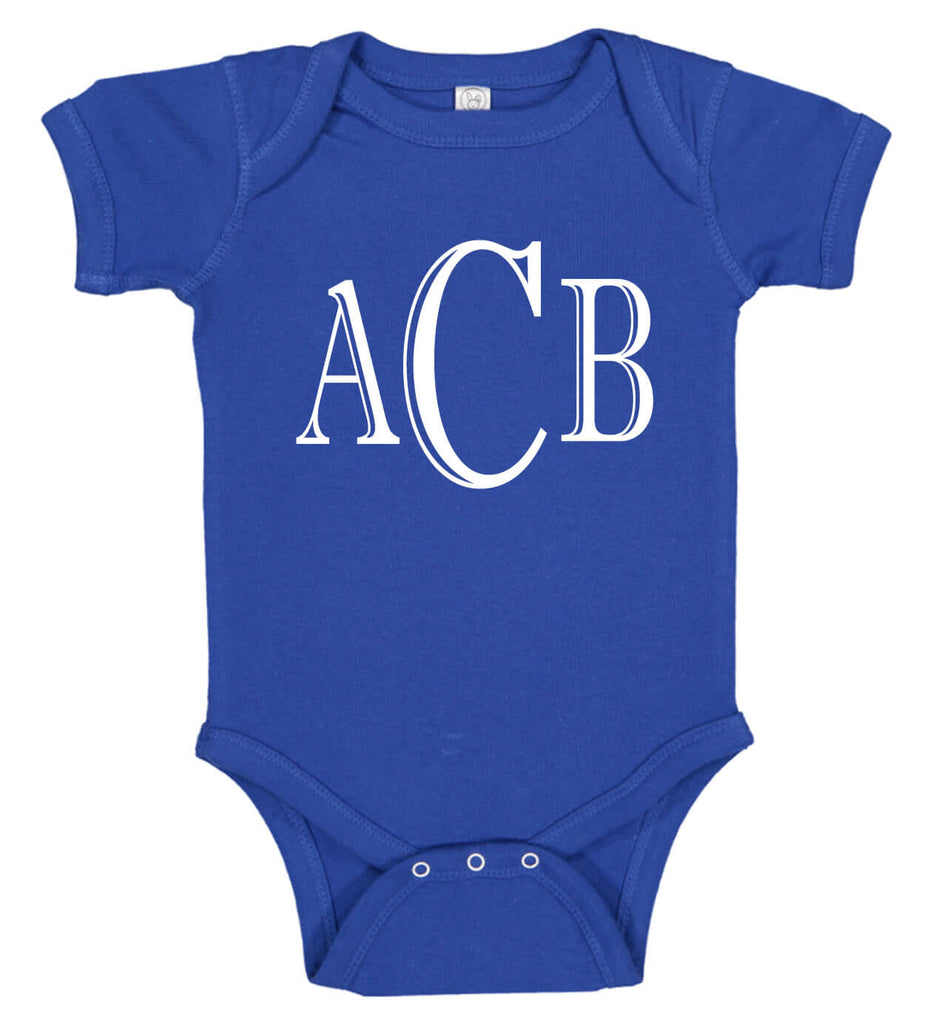 ef07b9559 Monogrammed Baby Boy Onesie - Personalized Babies. Tap to expand