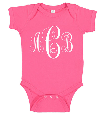 Image of Monogrammed Baby Girl Onesie - Personalized Babies