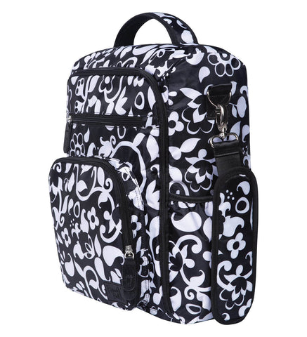 Image of Monogrammed Backpack Diaper Bag - Black & White - Personalized Babies