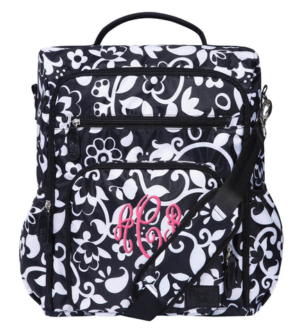 Monogrammed Backpack Diaper Bag - Black & White - Personalized Babies
