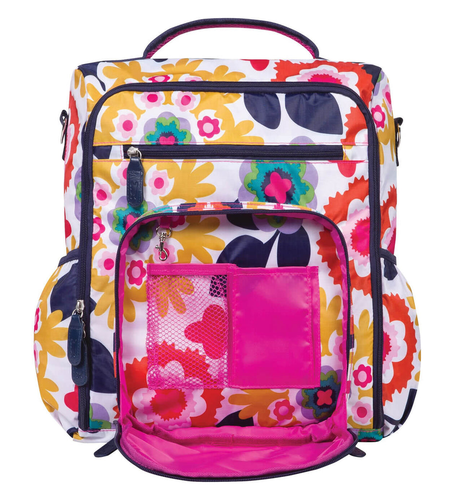 696681c10f84 Monogrammed Backpack Diaper Bag - Colorful Floral - Personalized Babies.  Tap to expand