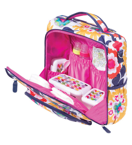 Image of Monogrammed Backpack Diaper Bag - Colorful Floral - Personalized Babies