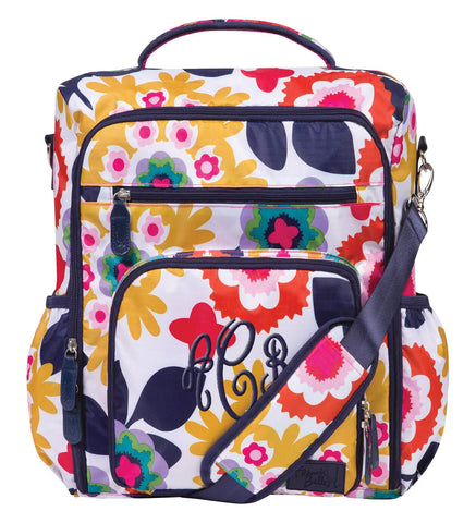 Monogrammed Backpack Diaper Bag - Colorful Floral - Personalized Babies