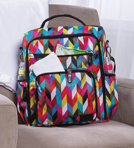Monogrammed Backpack Diaper Bag - Colorful Zig Zag - Personalized Babies