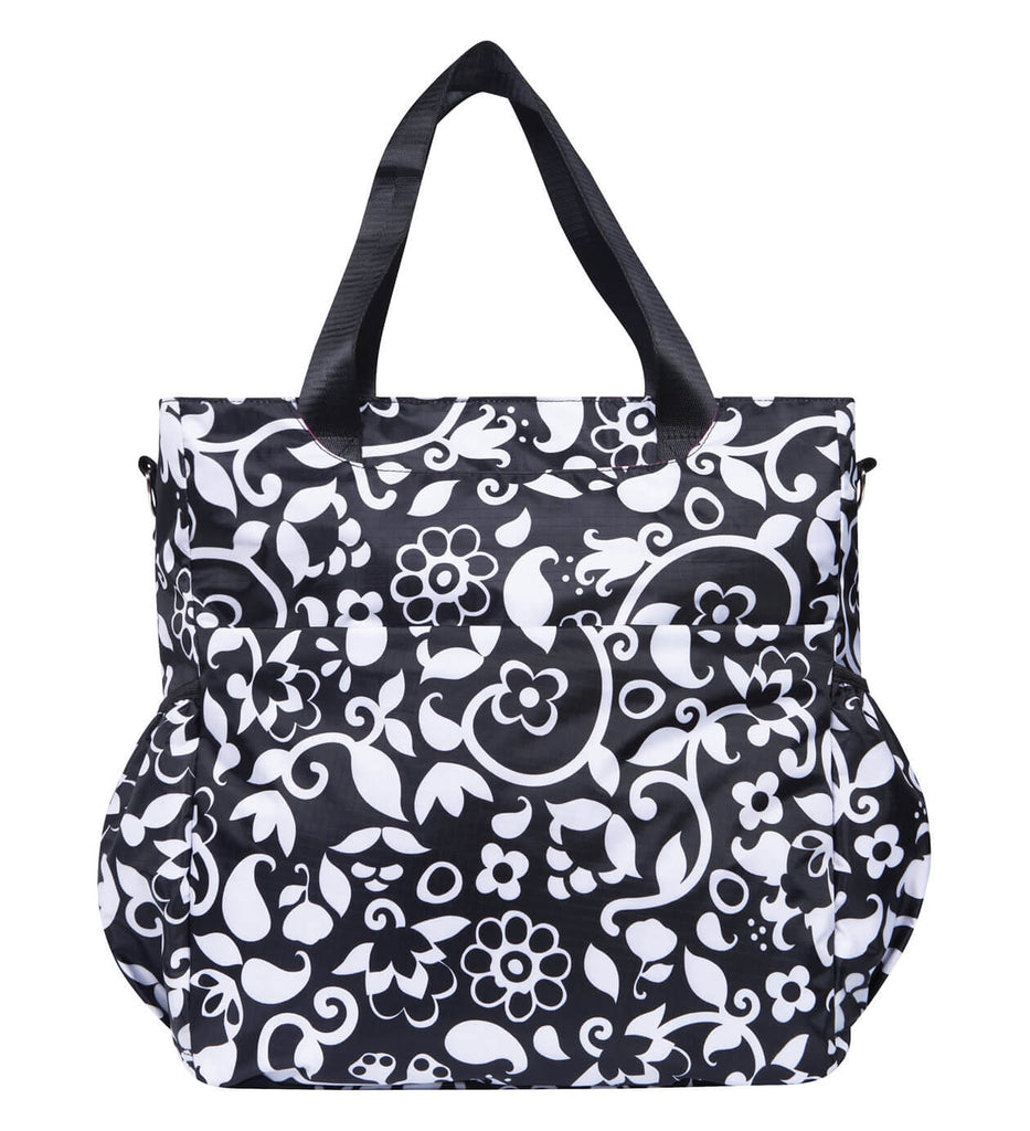 Monogrammed Diaper Bag Tote - Black & White - Personalized Babies