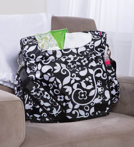 Image of Monogrammed Diaper Bag Tote - Black & White - Personalized Babies