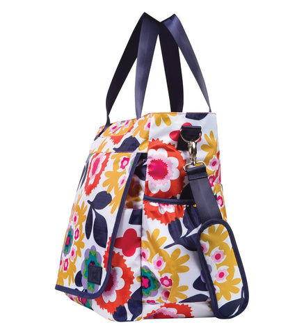 Monogrammed Diaper Bag Tote - Colorful Floral - Personalized Babies